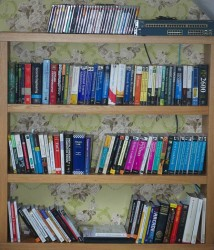the bookshelf next to my desk - the smallest and least cluttered of 15 or so throughout the house - these are the books I&#039;m using most often - or like the most - or mean to read sooner rather than later !